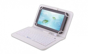 Husa tableta 8 Inch cu tastatura micro Usb, model X, alb, tip mapa, prindere 4 cleme C86, la 40 RON in loc de 85 RON