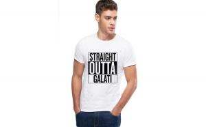 Tricou alb barbati - Straight Outta Galati