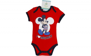 Body bebelusi , Mickey Mouse, rosu, fete, 71 cm