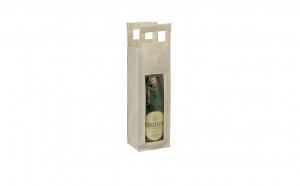 Punga cadou pentru sticla de vin, Nit4u, panza netesuta, bej