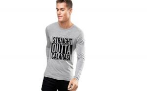 Bluza barbati gri cu text negru - Straight Outta Calarasi