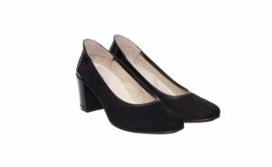 Pantofi dama din velur si piele lacuita, negri sau bleumarin - Produsi in Romania