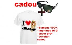 "Tricou imprimeu amuzant ""I LOVE SHAORMA"" + ochelari de soare polarizati CADOU"