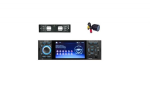 Pachet Mp5 Player cu camera marsalier Numar si camera fata Incastrabila, Bluetooth, 4 x 60 W, Ecran 4 .1 Touch, Comenzi volan