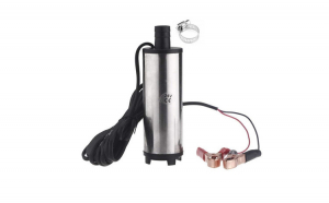 Pompa electrica auto submersibila 24V, 30 l/min, 51 MM, transfer motorina, combustibil, diesel, apa, ulei, antigel, vin, colier metalic pentru furtun
