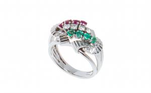 Inel aur 14K, smarald, rubin, diamant