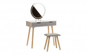 Masa de Toaleta pentru Machiaj cu Iluminare LED, Scaun, Oglinda Rotunda si 2 Sertare, Alba/Gri