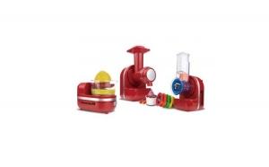 Robot bucatarie 3 in 1 - masina inghetata, storcator citrice, tocator, Hausberg, 150W, culoare rosu + Set cutite 3 piese cadou