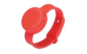 Bratara dispenser dezinfectant pentru maini, dispenser portabil din silicon cu curea reglabila, include dozator de reumplere 50 ml, pentru adulti si copii, 15 ml, rosu