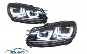 Set 2 faruri LED compatibil cu VW Golf 6 VI (2008-up) Design Golf 7 3D U Design Semnal LED Dinamic