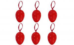 Set 6 oua decorative de Paste, rosii cu buline albe, 5.5 cm