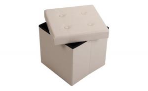 Taburet pliabil cu spatiu de depozitare 3 in 1, dimensiuni 38X38, Material PVC-CREM