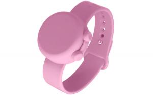 Bratara dispenser dezinfectant pentru maini, dispenser portabil din silicon cu curea reglabila, include dozator cu reumplere 50 ml, pentru adulti si copii, 15 ml, roz