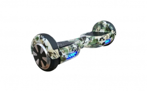 Scooter Hoverboard electric lumini LED pe roti si aripi, 6.5 inch. model Camuflaj