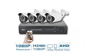 Kit de supraveghere HD, 1mega pixel, format din 4 camere de interior/exterior, HDMI, infrarosu si vizionare in timp real, cu ajutorul Internetului, pe calculator, tableta sau smartphone