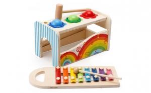 Jucarie Montessori 3 in 1 Ciocanel cu bile + Xilofon + Cutia permanentei, lemn vospit cu lacuri ecologice, finisaje excelente