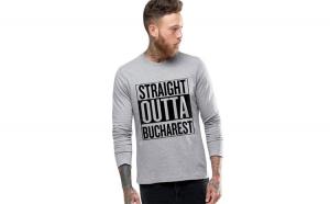Bluza barbati gri cu text negru - Straight Outta Bucuresti