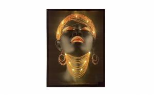 Tablou Spectaculos Canvas Iluminat cu LEDuri, pe Baterii, 60x90cm FN1 Gold
