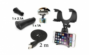 Suport telefon cu prindere pe oglinda retrovizoare + incarcator auto dual USB Serioux 3.1A + cablu micro USB 2 m, la doar 69 RON redus de la 149 RON