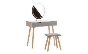 Masa de Toaleta pentru Machiaj cu Iluminare LED, Scaun, Oglinda Ovala si 2 Sertare, Alb/Gri