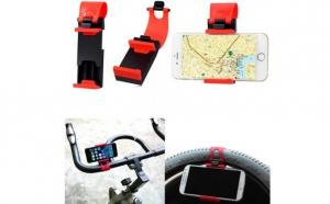 Suport auto volan universal reglabil, rosu cu negru, pentru telefon, model C36, la 8 RON in loc de 21 RON