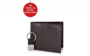 Set Portofel si Breloc Calvin Klein Two-Piece Black Leather Billfold Wallet & Key Fob Set, din piele, Maro