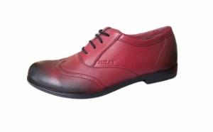Pantofi dama cu siret, din piele naturala, bordo in degrade - cod 605