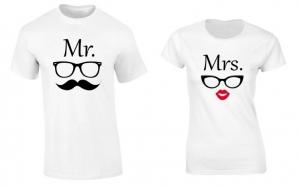 Set de tricouri pentru cuplu Mr./Mrs. Sunglasses, la 99 RON in loc de 200 RON