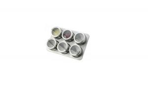 Set 6 condimente cu suport magnetic Grunberg, inox, argintiu