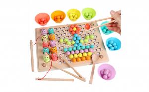 Joc Montessori 3 in 1 Pescuit Magnetic, Memorie si Indemanare, lemn bine finisat si lacuri ecologice