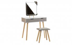 Masa de Toaleta pentru Machiaj cu Iluminare LED, Scaun, Oglinda Patrata si 2 Sertare