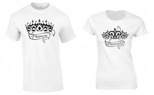 Set de tricouri pentru cuplu Print si Printesa P033, la 99 RON in loc de 200 RON