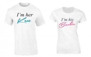 Set de tricouri pentru cuplu Barbie & Ken P034, la 99 RON in loc de 200 RON