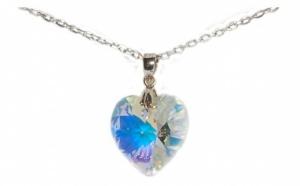 Lant Big Heart din argint 925 si element de cristal, la doar 109 RON in loc de 290 RON