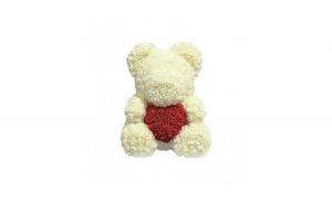 Ursulet din trandafiri, 40cm, alb cu inima rosie, Gonga