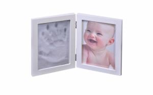 Kit amprenta mulaj 2D, bebelusi, manuta sau picior, cu rama foto Alba