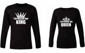 Set de bluze pentru cupluri de indragostiti His Queen/Her King, la 149 RON in loc de 300 RON