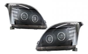 Set 2 faruri Angel Eye compatibil cu Toyota Land Cruiser FJ120 (2003-2008), negru