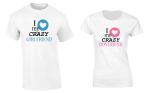 Set de tricouri pentru cuplu Crazy Boyfriend and Girlfriend P037, la 99 RON in loc de 200 RON