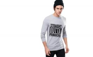 Bluza barbati gri cu text negru - Straight Outta Primaverii