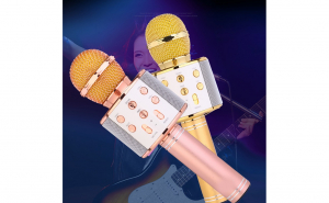 Microfon wireless sistem 858 karaoke profesional cu boxe si Bluetooth 4.1 Black Friday Romania 2017