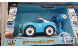 Set asamblat camion politie r/c cu bormasina electrica, muzical, acmulator
