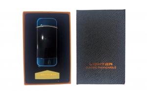 Bricheta electrica cu incarcare USB, cablu inclus, anti-vant, culoare albastra