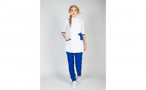 Sarafan Medical stil Kimono, Modern, alb-albastru