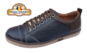 Pantofi barbatesti - bleumarin si maro, Nevalis, piele naturala
