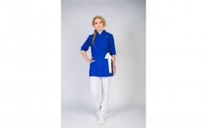 Sarafan Medical stil Kimono, Modern, albastru-alb
