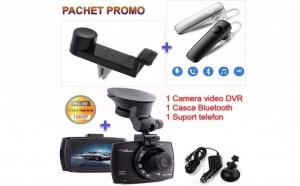 Camera video Full HD, 1080p, cu ecran mare + Casca Bluetooth + Suport telefon pentru masina