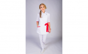 Sarafan Medical stil Kimono Modern, alb-rosu
