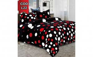 Lenjerie Cocolino pufoasa - model negru buline colorate