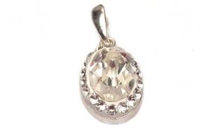 Pandantiv Oval Ceralun, Cristal, Argint